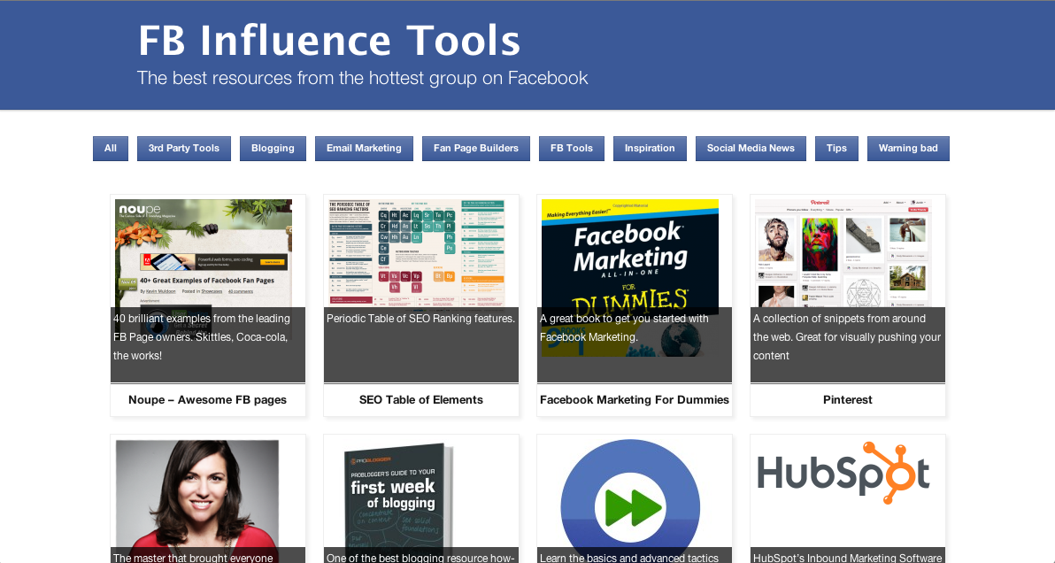 Facebook Influence Tools
