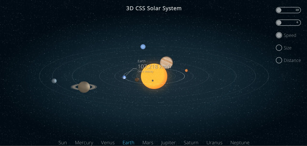 3D CSS3 Solar System from Code Pen