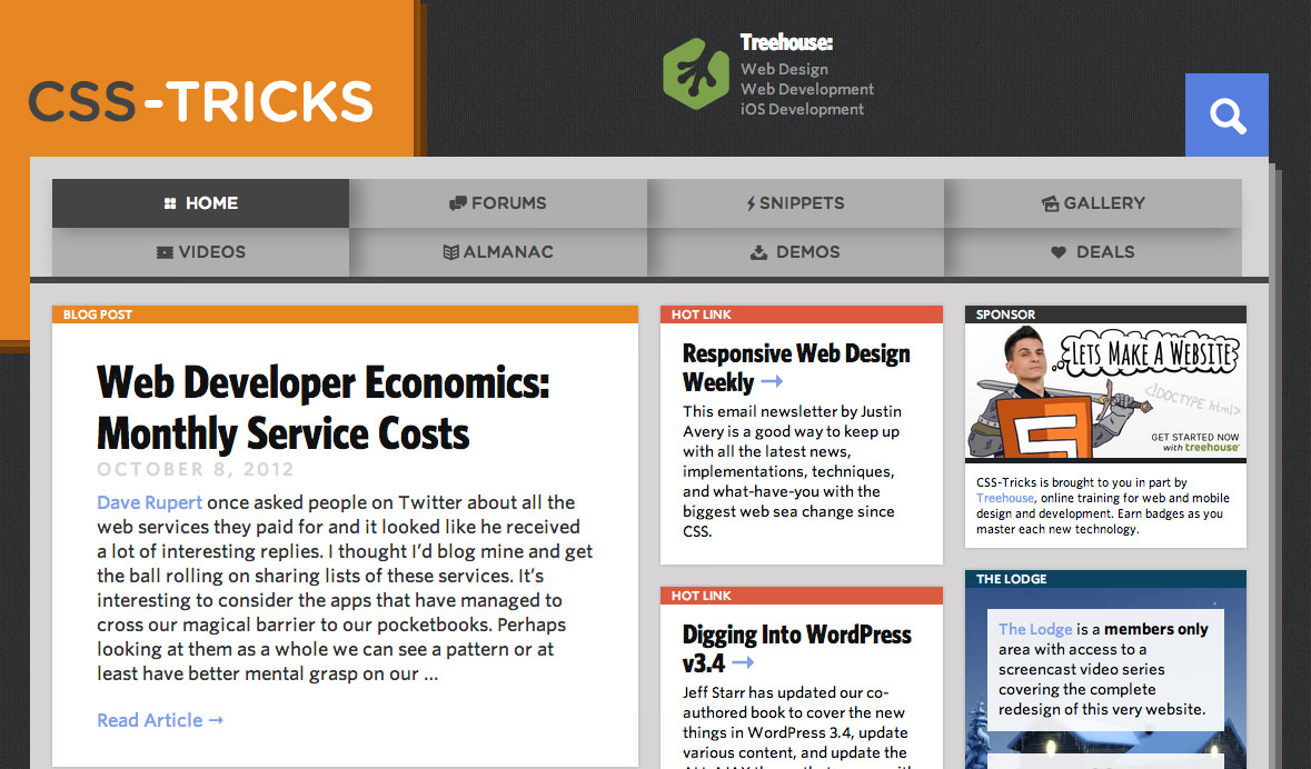 Screen shot of CSS Tricks with Responsive Design Weekly mentioned