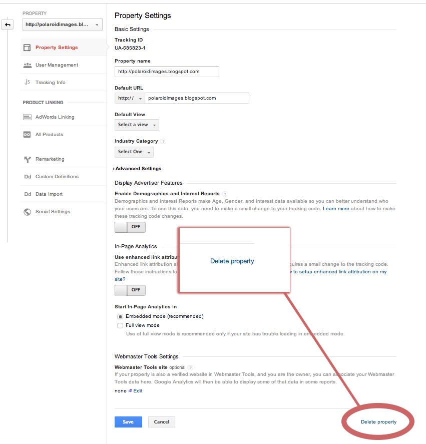 Google Analytics Delete Property