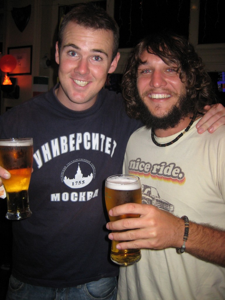 Roland and me enjoying our first beer for a few years.