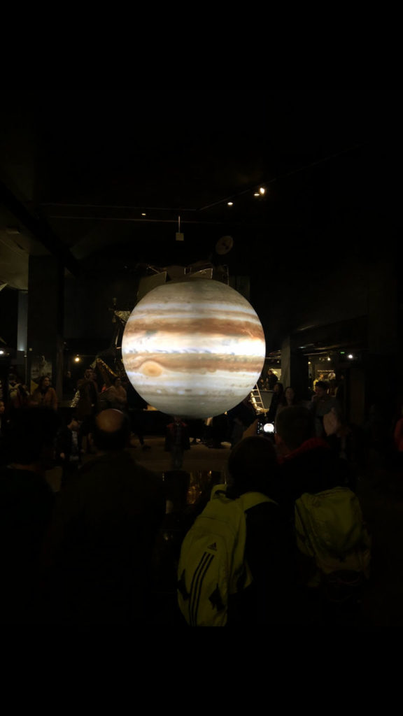 Jupiter projected on a blank sphere in the Science Museum
